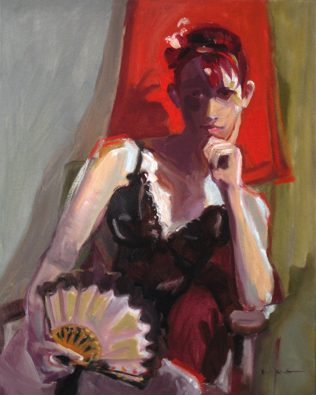 "<br><font size=""4"" style=""font-family:verdana; color:white;"">'Girl with Fan' • 20x24 inches • Private Collection</font>"